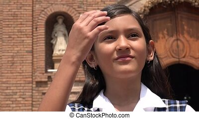 Catholic Girl Praying At Church