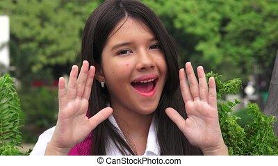 Catholic Girl Student Shouting