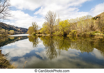 Catholic Hermitage of San Saturio built in the mountainside in Soria, Castilla y Leon, Spain.