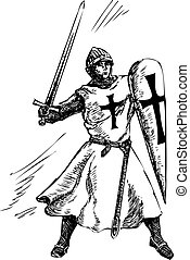 Catholic knight graphic doodle vector illustration in fight
