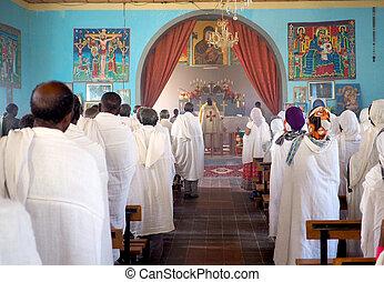 Catholic mass in an Ethiopian Church