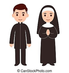 Catholic priest and nun - Cute cartoon catholic priest and ...