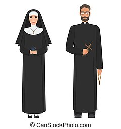 Catholic priest and nun. Flat cartoon vector illustration.