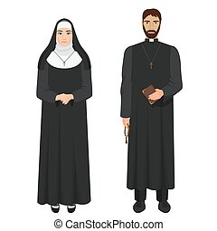 Catholic priest and nun. Realistic vector illustration.