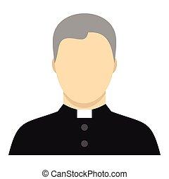 Catholic priest icon, flat style