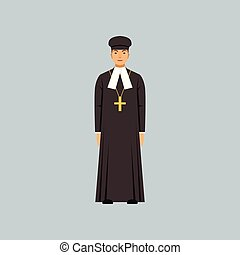 Catholic priest in black soutane, representative of...