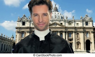 catholic priest in vatican city - young catholic clergyman...