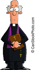 Catholic priest on a white background, vector