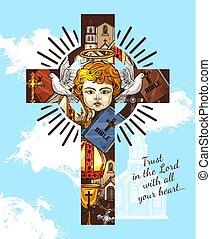 Catholic religious greeting, angel on cross - Christianity...