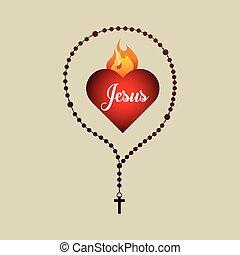 catholic rosary and holy bible icon design