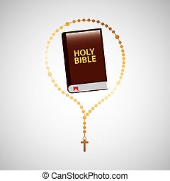 catholic rosary and holy bible icon design
