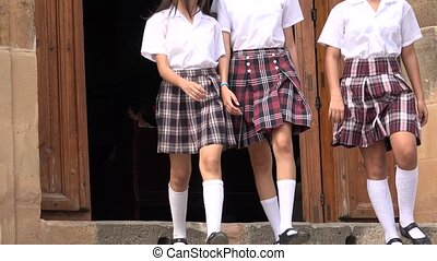 Catholic School Girls Coming Out Of Church