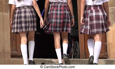 Catholic School Girls Enter And Leave Church