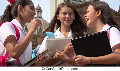 Catholic School Girls Having Fun