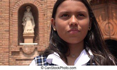 catholique, école, prier, girl