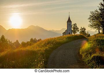 catholique, église, à, levers de soleil