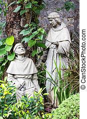 catholique, basilique, vieux, nino., philippines., cour,...