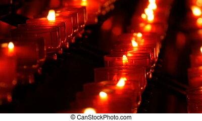 catholique, brûlé, bougies, église, rond, rouges