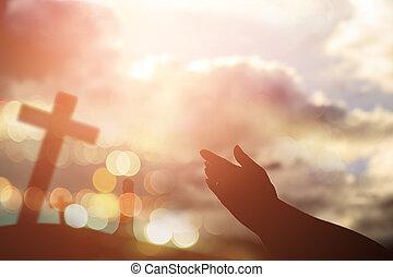 catholique, concept, chrétien, worship., dieu, mains, eucharistie, esprit, haut, repent, pray., portion, arrière-plan., paume, humain, prêté, thérapie, bénir, ouvert, paques