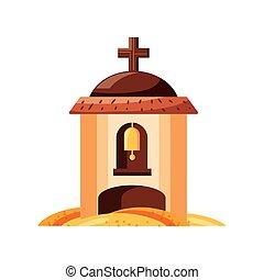 catholique, fond, blanc, église