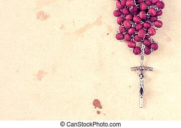 catholique, gros plan, rosaire, vue