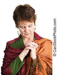 catholique, irlandais, femme, prière