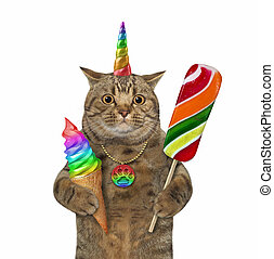 Caticorn with lollipop and ice cream 2