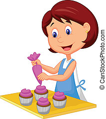 Catoon woman with apron decorating - Vector illustration of...