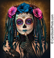 Catrina Girl, 3d CG - 3d computer graphics of a young woman...