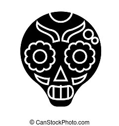 catrina icon, vector illustration, black sign on isolated background