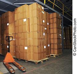 catron, 箱, そして, パレットトラック, 中に, 倉庫