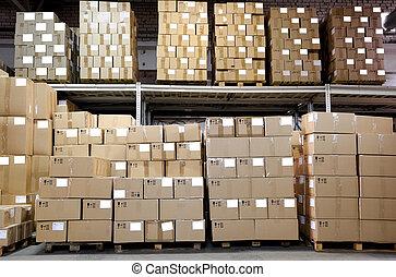catron, boîtes, dans, entrepôt
