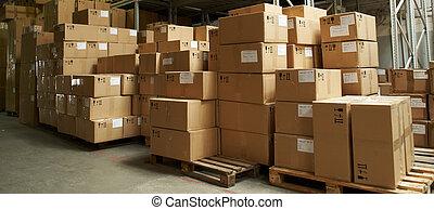 catron, dobozok, alatt, raktárépület