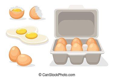catroon, huevos, pollo, roto