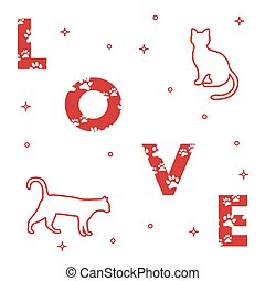Cats and and the inscription love with traces.