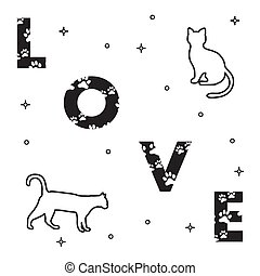 Cats and and the inscription love with traces. - Word: Love....