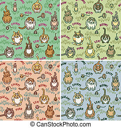 Cats and Critters - Cute cats and critters seamless pattern ...