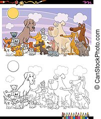 cats and dogs characters coloring book