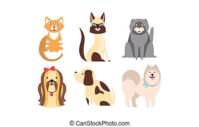 Cats and dogs of different breeds set, cute pets, domestic animals, best friends vector Illustration