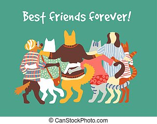 Cats and dogs pets group animal friends friendship hugs.