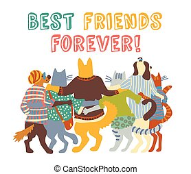 Cats and dogs pets group friends hugs isolate.