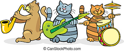 Cats band - Illustration of band of cats playing music