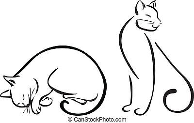 Cat's line art, vector illustration