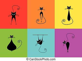 Cats character colorful, cats color