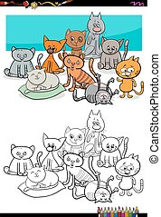 cats characters group coloring book