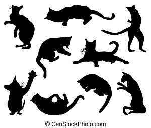 cats - Black silhouettes of cats, vector