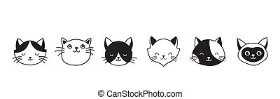 Cats, collection of vector icons, hand drawn illustrations