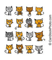 Cats collection, sketch for your design