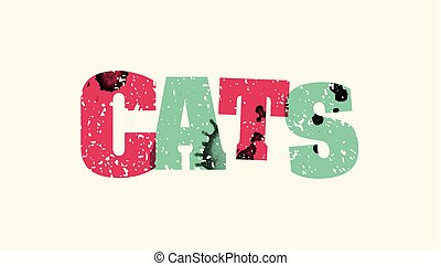 Cats Concept Colorful Stamped Word Illustration