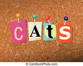 Cats Concept Pinned Letters Illustration